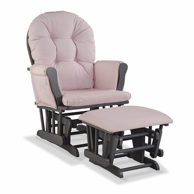 Storkcraft Hoop Custom Glider and Ottoman in Gray and Pink Blush Swirl - Click to enlarge