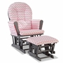 Storkcraft Hoop Custom Glider and Ottoman in Gray and Pink Chevron