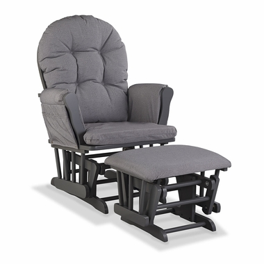 Storkcraft Hoop Custom Glider and Ottoman in Gray and Slate Gray Swirl - Click to enlarge