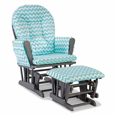Storkcraft Hoop Custom Glider and Ottoman in Gray and Turquoise Chevron - Click to enlarge