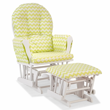 Storkcraft Hoop Custom Glider and Ottoman in White and Citron Green Chevron - Click to enlarge