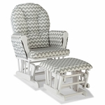 Storkcraft Hoop Custom Glider and Ottoman in White and Gray Chevron