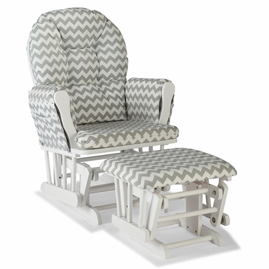 Storkcraft Hoop Custom Glider and Ottoman in White and Gray Chevron - Click to enlarge