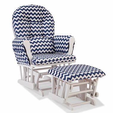 Storkcraft Hoop Custom Glider and Ottoman in White and Navy Chevron - Click to enlarge