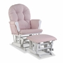 Storkcraft Hoop Custom Glider and Ottoman in White and Pink Blush Swirl