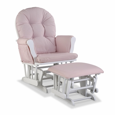 Storkcraft Hoop Custom Glider and Ottoman in White and Pink Blush Swirl - Click to enlarge
