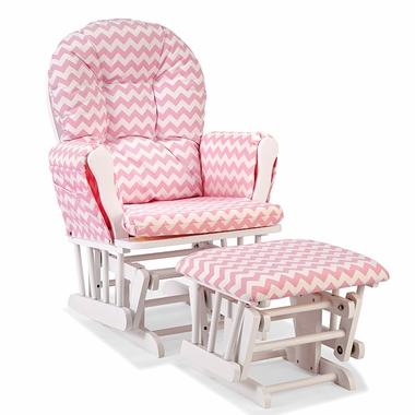 Storkcraft Hoop Custom Glider and Ottoman in White and Pink Chevron - Click to enlarge