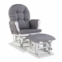 Storkcraft Hoop Custom Glider and Ottoman in White and Slate Gray Swirl