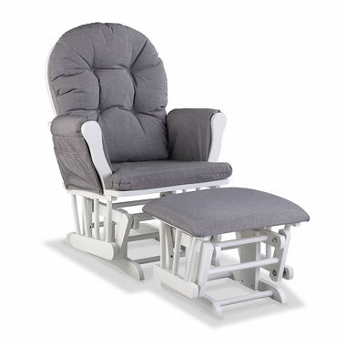 Storkcraft Hoop Custom Glider and Ottoman in White and Slate Gray Swirl - Click to enlarge