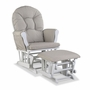 Storkcraft Hoop Custom Glider and Ottoman in White and Taupe Swirl
