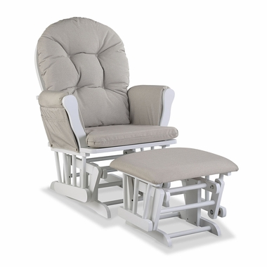 Storkcraft Hoop Custom Glider and Ottoman in White and Taupe Swirl - Click to enlarge