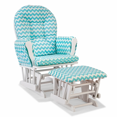 Storkcraft Hoop Custom Glider and Ottoman in White and Turquoise Chevron - Click to enlarge