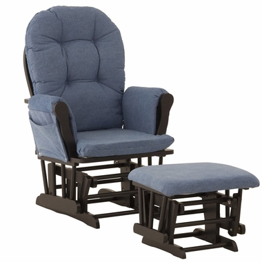 Storkcraft Black Hoop Glider And Ottoman With Denim Fabric