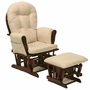 Storkcraft Hoop Glider and Ottoman in Cherry and Beige