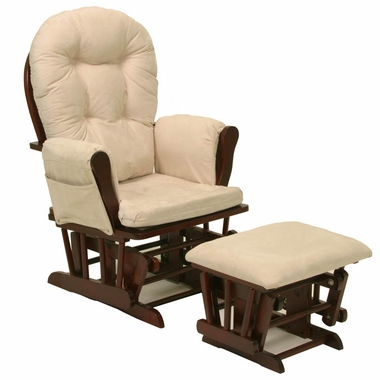 Storkcraft Hoop Glider and Ottoman in Cherry and Beige - Click to enlarge