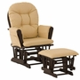 Storkcraft Hoop Glider and Ottoman in Espresso and Khaki