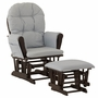 Storkcraft Hoop Glider and Ottoman in Espresso and Light Denim