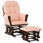 Storkcraft Hoop Glider and Ottoman in Espresso and Pink Gingham
