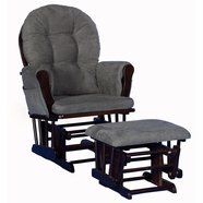 Storkcraft  Hoop Glider and Ottoman in Espresso with Gray cushions
