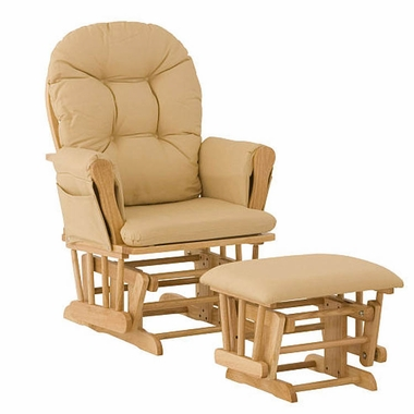 Storkcraft Hoop Glider and Ottoman in Natural and Khaki - Click to enlarge