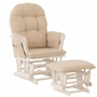 Storkcraft Hoop Glider and Ottoman in White and Beige