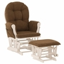 Storkcraft Hoop Glider and Ottoman in White and Chocolate