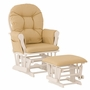 Storkcraft Hoop Glider and Ottoman in White and Khaki