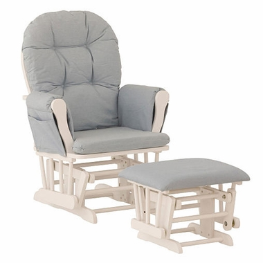 Storkcraft Hoop Glider and Ottoman in White and Light Denim - Click to enlarge