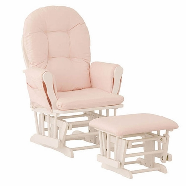 Storkcraft Hoop Glider and Ottoman in White and Pink - Click to enlarge