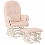 Storkcraft Hoop Glider and Ottoman in White and Pink