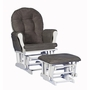 Storkcraft  Hoop Glider and Ottoman in White with Gray Cushions