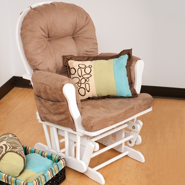 Storkcraft Hoop Glider in White with Mocha - Click to enlarge