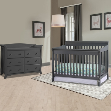 Storkcraft Modena 2 Piece Nursery Set Convertible Crib And Avalon 6 Drawer Dresser In Gray