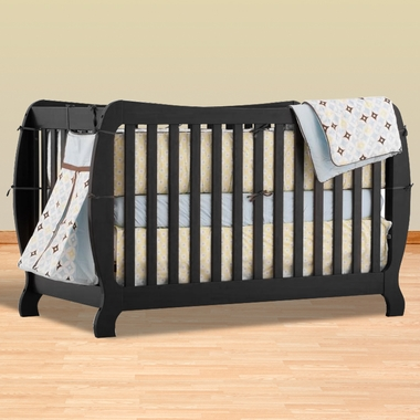 Storkcraft Monza II Fixed Side Convertible Crib in Black - Click to enlarge