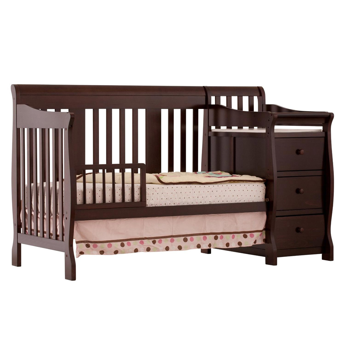 bundle attached with mattress convertible changing changer crib cribs gray and table combo relax nco baby nonconfig emma