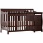 Storkcraft Portofino 4 in 1 Fixed Side Convertible Crib & Changer Combo in Espresso