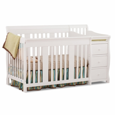 Storkcraft Portofino 4 in 1 Fixed Side Convertible Crib Changer in White - Click to enlarge