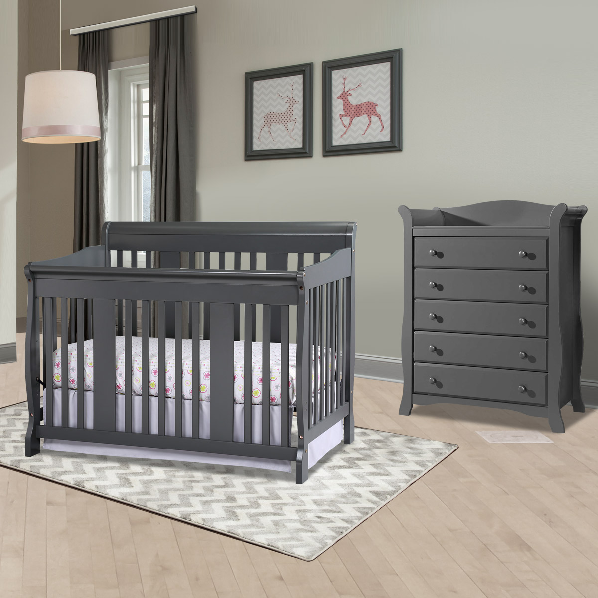 Storkcraft Tuscany 2 Piece Nursery Set Convertible Crib And Avalon 5 Drawer Dresser In Gray Free Shipping