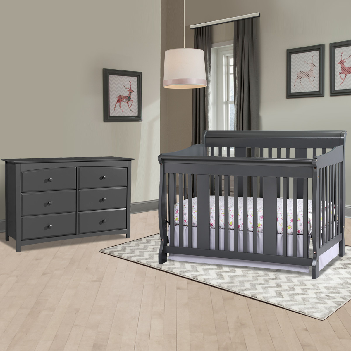 Storkcraft Tuscany 2 Piece Nursery Set Convertible Crib And Kenton 6 Drawer Dresser In Gray Free Shipping