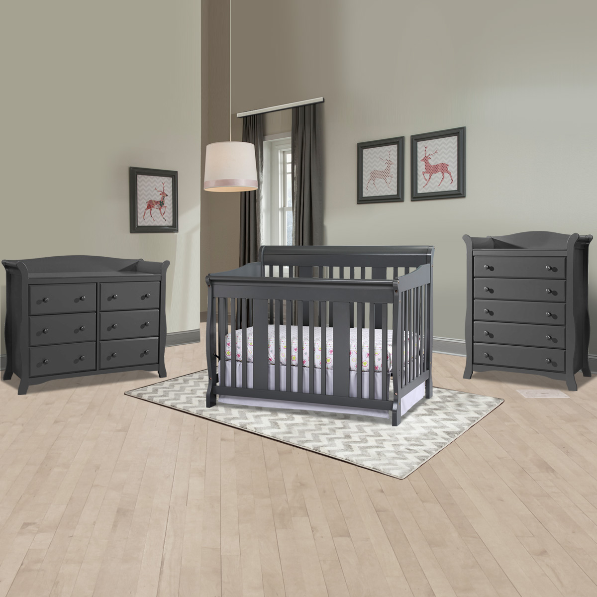 Storkcraft 3 Piece Nursery Set Tuscany Convertible Crib Avalon 5 Drawer Dresser And 6 In White Free Shipping