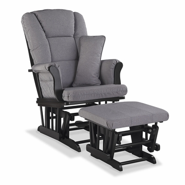 Storkcraft Tuscany Custom Glider and Ottoman in Black and Slate Gray Swirl - Click to enlarge
