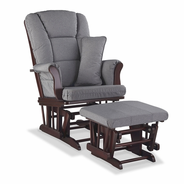 Storkcraft Tuscany Custom Glider and Ottoman in Cherry and Slate Gray Swirl - Click to enlarge