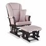 Storkcraft Tuscany Custom Glider and Ottoman in Espresso and Pink Blush Swirl