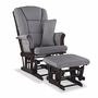 Storkcraft Tuscany Custom Glider and Ottoman in Espresso and Slate Gray Swirl