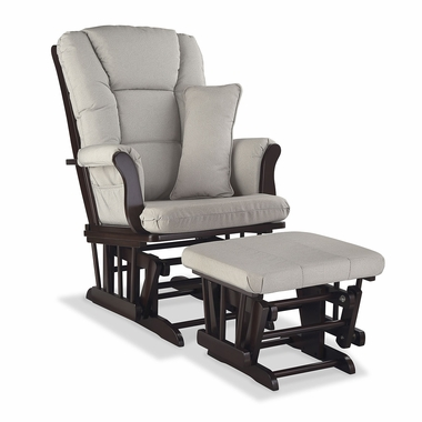 Storkcraft Tuscany Custom Glider and Ottoman in Espresso and Taupe Swirl - Click to enlarge