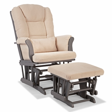 Storkcraft Tuscany Custom Glider and Ottoman in Gray and Beige - Click to enlarge