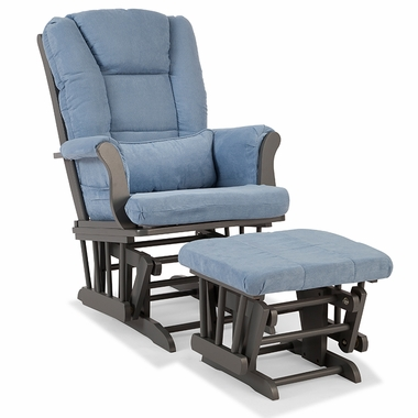 Storkcraft Tuscany Custom Glider and Ottoman in Gray and Blue - Click to enlarge