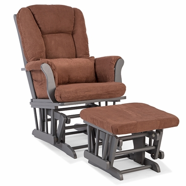 Storkcraft Tuscany Custom Glider and Ottoman in Gray and Chocolate - Click to enlarge