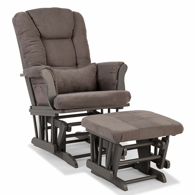 Storkcraft Tuscany Custom Glider and Ottoman in Gray and Gray - Click to enlarge