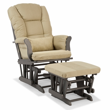 Storkcraft Tuscany Custom Glider and Ottoman in Gray and Sage - Click to enlarge
